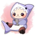 :3 absurdres animal_costume animal_hood black_eyes blush commentary english_commentary fish_tail highres holding holding_phone hood no_humans original phone pink_background sea_otter sevi_(seviyummy) shark_costume shark_hood shark_tail sitting smile tail white_background