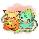 absurdres blush_stickers bulbasaur closed_eyes facing_viewer halloween_bucket happy heart heart_print highres looking_at_viewer no_humans open_mouth pikachu pokemon pokemon_(creature) red_background red_eyes sevi_(seviyummy) smile watermark white_background