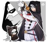 1boy absurdres ascot asogi_kazuma black_cape cape closed_mouth dai_gyakuten_saiban dai_gyakuten_saiban_2 gloves gyakuten_saiban highres holding holding_sword holding_weapon hood hood_up hooded_cape jacket long_sleeves male_focus mask multiple_boys pants parted_lips red_neckwear simple_background siomeronpan17 spoilers sword weapon white_gloves
