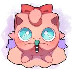 absurdres artist_name blush bow commentary english_commentary full_body green_eyes heart heart_in_eye highres holding holding_microphone jigglypuff microphone pink_background pokemon pokemon_(creature) red_bow sevi_(seviyummy) smile solo sparkle standing star_(symbol) symbol_in_eye watermark white_background