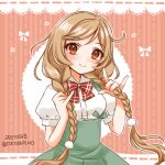 1girl bow bowtie braid cloud_hair_ornament cocoperino gradient_hair grey_skirt holding holding_hair kantai_collection light_brown_hair long_hair looking_at_viewer low_twin_braids minegumo_(kancolle) multicolored_hair one-hour_drawing_challenge pink_background plaid plaid_bow plaid_neckwear red_eyes red_neckwear shirt skirt solo striped striped_background suspender_skirt suspenders twin_braids white_shirt