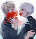 2boys androgynous bangs black_bodysuit black_jacket black_sclera blonde_hair bodysuit colored_sclera commentary_request covered_mouth eye_contact flower flower_in_mouth from_side grey_hair highres jacket kaneki_ken koujima_shikasa long_sleeves looking_at_another male_focus multiple_boys nagachika_hideyoshi red_eyes red_flower short_hair simple_background tears tokyo_ghoul upper_body white_background