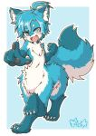 1boy :d acky ahoge animal_ear_fluff animal_ears animal_hands bangs blue_background blue_eyes blue_fur blue_hair blush centauroid claws clenched_hand commentary eyebrows_visible_through_hair fang fictional_persona fox_boy fox_ears fox_tail full_body furry furry_male hair_between_eyes heterochromia highres looking_at_viewer male_focus navel open_mouth original outline parted_bangs pointing pointing_at_viewer short_hair signature slit_pupils smile snout solo standing_on_three_legs tail taur thick_eyebrows white_fur