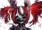 1girl absurdres animal_ears bangs black_hair black_sclera blood blue_eyes collar colored_sclera cosplay dice_hair_ornament hair_ornament hakos_baelz highres hololive hololive_english kaneki_ken kaneki_ken_(cosplay) liquid_hair mask mouse_ears mouse_girl multicolored_hair one_eye_covered portrait redhead s_panda_k solo spiked_collar spikes streaked_hair virtual_youtuber white_hair