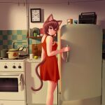 1girl 2ch.ru absurdres animal_ear_fluff animal_ears apple bangs bare_arms bare_shoulders blush braid brown_eyes brown_hair cat_ears cat_girl cat_tail clock clothes_pin commentary cup cutting_board dress english_commentary food fruit grater hair_between_eyes highres indoors kitchen ladle long_hair mug pot red_dress refrigerator side_braid sleeveless sleeveless_dress smile solo stove tail tail_through_clothes uvao-tan wall_clock wlper