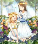 2girls :d back_bow bang_dream! bangs bare_arms between_legs blonde_hair blue_bow blue_butterfly blue_flower blue_neckwear blurry blurry_background blurry_foreground bow bowtie braid breasts brown_hair bug butterfly closed_eyes closed_mouth collarbone commentary commission cross-laced_clothes day dress eyebrows_visible_through_hair floral_print flower flower_wreath frilled_dress frilled_sleeves frills full_body grass greenhouse hand_between_legs hand_on_another's_head hands_up head_wreath highres indoors jewelry kneeling light_blush light_particles light_smile long_hair looking_at_another low_twin_braids low_twintails medium_breasts medium_hair multiple_girls necklace okusawa_misaki on_ground open_mouth orange_flower pendant pink_flower pleated_dress print_dress purple_flower sailor_collar sailor_dress see-through shiny shiny_hair shoes short_sleeves sidelocks sitting sleeves_past_elbows smile sunlight swept_bangs tiny_(tini3030) tree tsurumaki_kokoro twin_braids twintails upper_teeth v_arms very_long_hair wariza white_dress white_flower white_footwear white_sailor_collar yellow_butterfly yellow_flower