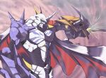 armor blurry blurry_background cape digimon digimon_(creature) green_eyes horns no_humans omegamon red_cape ryo@ shoulder_spikes solo spikes sword twitter_username weapon