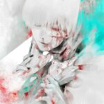 1boy 1other amputee black_nails blood blood_from_eyes blood_from_mouth blood_on_arm blood_on_clothes blood_on_face closed_eyes closed_mouth commentary_request cuts green_background grey_background highres injury kaneki_ken koujima_shikasa looking_at_viewer male_focus missing_finger nail_polish nosebleed shirt solo_focus tokyo_ghoul upper_body