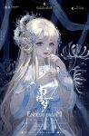 1girl blue_eyes china_dress chinese_clothes dress flower grey_hair hanfu highres long_hair original solo spider_lily white_flower zhaoye