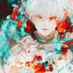 1boy absurdres bangs black_background black_nails black_sclera closed_mouth colored_sclera commentary_request dated expressionless flower green_flower grey_eyes hand_up heterochromia highres kaneki_ken koujima_shikasa looking_at_viewer male_focus nail_polish red_eyes red_flower shirt short_hair signature solo tokyo_ghoul upper_body