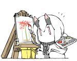 1girl abyssal_ship brush canvas_(object) chain chibi dress fubuki_(kancolle) horns kantai_collection low_ponytail lycoris_fubuki no_mouth oni_horns painting red_eyes short_hair short_ponytail simple_background solo task_(s_task80) white_background white_dress white_hair |_|