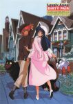 1980s_(style) 2girls absurdres adjusting_clothes adjusting_headwear blue_hair book copyright_name day dirty_pair dog hat highres holding holding_book kei_(dirty_pair) long_hair long_skirt long_sleeves looking_at_viewer looking_back mughi multiple_girls nanmo official_art outdoors pink_skirt redhead retro_artstyle robot scan short_hair skirt walking yuri_(dirty_pair)