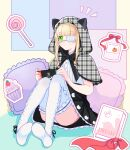 1girl absurdres alre animal_ears bangs blonde_hair blunt_bangs book cake candy eyebrows_visible_through_hair eyepatch fake_animal_ears food game_console highres indie_virtual_youtuber lollipop medical_eyepatch on_floor second-party_source shio_tatsumi sidelocks sitting solo virtual_youtuber white_legwear