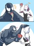 1boy 1girl bodysuit breasts chocolate crossover gwen_stacy highres hood long_tongue marvel mask medium_breasts muscular sharp_teeth silk simple_background skin_tight smile spider-gwen spider-man_(series) spider_web spider_web_print superhero sushi_pizza_rrr symbiote teeth tongue tongue_out venom_(marvel)