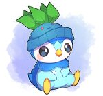 absurdres artist_name beanie black_eyes blush commentary english_commentary hat highres no_humans oddish outline pink_background piplup pokemon pokemon_(creature) sevi_(seviyummy) sitting solo watermark white_background white_outline