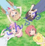 4girls absurdres akaza_akari arm_up arms_up artist_request bangs blonde_hair blue_eyes blue_shirt blunt_bangs bow brown_eyes brown_hair buttons clenched_hand closed_mouth collarbone collared_shirt double_bun dress dress_shirt eyebrows_visible_through_hair funami_yui grass hair_between_eyes hair_bobbles hair_bow hair_ornament hand_on_own_face heart highres long_sleeves lying multiple_girls official_art on_back on_grass open_mouth outdoors pink_hair puffy_short_sleeves puffy_sleeves redhead sample shirt short_sleeves sleeves_rolled_up star_(symbol) toshinou_kyouko upper_body violet_eyes white_dress yellow_shirt yoshikawa_chinatsu yuru_yuri