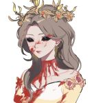 1girl black_sclera blood blood_on_face character_request closed_mouth colored_sclera crown dress grey_hair identity_v long_hair looking_at_viewer portrait simple_background solo white_background yp_(pypy_5_)
