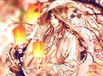 1boy adjusting_clothes adjusting_headwear artist_name black_hair blurry blurry_background blurry_foreground branch chinese_clothes flower hat highres lantern long_hair long_sleeves outdoors paper_lantern solo straw_hat tian_guan_ci_fu very_long_hair xie_lian yuuefa