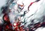 1boy bangs black_background closed_mouth colored_skin commentary_request embers facing_viewer grey_background grey_hair grey_skin highres hole_in_face kagune_(tokyo_ghoul) kaneki_ken koujima_shikasa male_focus red_background red_eyes ribs shiny shiny_hair shirtless short_hair solo tentacles tokyo_ghoul white_hair