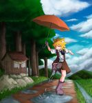1girl after_rain ahoge animal_ear_fluff animal_ears asymmetrical_hair bangs black_neckwear blonde_hair blue_sky boots brown_skirt brown_vest closed_eyes closed_mouth clouds collared_shirt commentary_request cookie_(touhou) day eyebrows_visible_through_hair forest fox_ears fox_girl full_body grass highres holding holding_umbrella kicking medium_hair miramikaru_riran nature necktie outdoors path puddle purple_footwear rock rubber_boots shirt short_sleeves shrine sidelocks skirt sky smile solo umbrella vest water white_shirt yan_pai