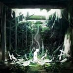 1other blurry colored_skin commentary facing_up from_side highres koujima_shikasa moss outdoors overgrown plant ruins scenery short_hair solo symbol-only_commentary tokyo_ghoul white_skin wide_shot