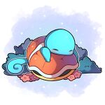 absurdres artist_name blue_background bush closed_eyes commentary english_commentary flower highres no_humans pink_flower pokemon pokemon_(creature) sevi_(seviyummy) shell sleeping sparkle squirtle watermark white_background