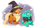 absurdres bespectacled black_headwear black_jacket commission evil_grin evil_smile fang ghost_print glasses green_eyes grin growlithe hat highres hood hood_down hooded_jacket jacket looking_at_another no_humans own_hands_together pokemon pumpkin_print purple_background sevi_(seviyummy) smile standing totodile trembling witch_hat