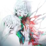 2boys absurdres androgynous bangs biting blood blood_on_face blood_on_hands closed_eyes commentary_request from_side gradient gradient_background hand_in_another's_hair hand_up highres kaneki_ken koujima_shikasa long_sleeves male_focus multicolored multiple_boys nagachika_hideyoshi shirt short_hair simple_background tokyo_ghoul upper_body white_background