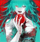 1girl apple bandages biting blood blood_on_hands commentary_request eto_(tokyo_ghoul) fangs food fruit green_eyes green_hair hair_between_eyes hand_up heterochromia highres koujima_shikasa lips long_hair messy_hair open_mouth red_background red_eyes shiny shiny_hair solo teeth tokyo_ghoul tokyo_ghoul:re
