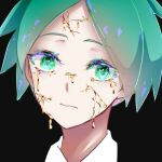 1other androgynous bangs black_background commentary_request cracked_skin crystal_hair gold green_eyes green_hair houseki_no_kuni looking_at_viewer molten_metal parted_lips phosphophyllite simple_background solo to_to_shiro