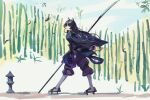 1girl animal_ears arknights armor artist_name bamboo bamboo_forest bangs black_hair braid branch buddhism bug butterfly dog_ears flock forest from_side full_body gauntlets geta highres holding holding_polearm holding_weapon japanese_armor japanese_clothes long_hair long_sleeves looking_up naginata nature open_mouth orange_eyes polearm saga_(arknights) solo stone_lantern surprised walking weapon wide_sleeves