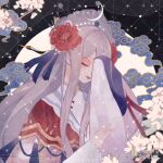 1girl animated animated_gif broken china_dress chinese_clothes dress floating_hair flower hair_ornament hanfu live2d long_sleeves lowres makeup original peony_(flower) pink_flower red_flower tassel wind yu_zi_ganyou