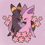 absurdres artist_name blush cherry_blossoms closed_eyes espeon forehead-to-forehead from_side heads_together highres no_humans outline pink_background pink_theme pokemon pokemon_(creature) sevi_(seviyummy) umbreon watermark white_outline