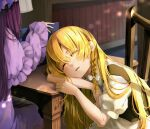 2girls absurdres arm_support blonde_hair book bookshelf bow braid chair closed_eyes hair_bow hat highres kirisame_marisa lens_flare long_hair mixed-language_commentary multiple_girls no_hat no_headwear out_of_frame parted_lips patchouli_knowledge purple_hair robe sitting sleeping sunlight table touhou upper_body very_long_hair white_bow wide_sleeves yamato06403261