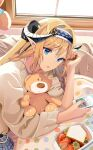 1girl absurdres alternate_costume arknights auguste blanket blonde_hair blue_eyes blue_hairband braid brown_sweater casual cellphone commentary_request day dragon_horns eyebrows_visible_through_hair food fruit hair_intakes hairband highres holding holding_phone horns indoors long_hair long_sleeves looking_at_viewer lying on_bed on_side open_mouth phone pointy_ears saileach_(arknights) sandwich smartphone smile solo strawberry stuffed_animal stuffed_toy sweater teddy_bear twin_braids upper_body