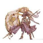1girl armor armored_dress blonde_hair breasts fate/apocrypha fate_(series) flag gloves headpiece high_heels highres jeanne_d'arc_(fate) kazama_raita long_hair looking_at_viewer simple_background solo thigh-highs very_long_hair weapon white_background