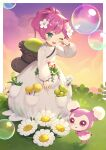 1girl ;d bangs bubble character_request creature dress eyebrows_visible_through_hair flower green_eyes hair_flower hair_ornament hand_up highres livly_island long_sleeves looking_at_viewer momoshiki_tsubaki one_eye_closed open_mouth pink_hair ponytail puffy_long_sleeves puffy_sleeves red_flower red_rose rose sleeves_past_wrists smile solo standing violet_eyes white_dress white_flower