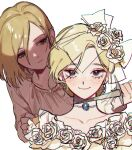2girls blade_to_throat blonde_hair blush brooch character_request closed_mouth dagger dress flower holding holding_dagger holding_weapon identity_v jewelry knife looking_at_viewer multiple_girls reverse_grip rose sanpaku shirt simple_background smile violet_eyes weapon white_background white_dress white_flower white_rose white_shirt yp_(pypy_5_)