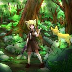1girl animal_ear_fluff animal_ears asymmetrical_hair bangs belt black_belt black_bow black_neckwear blonde_hair bow bowtie breasts brown_footwear brown_skirt brown_vest bush canopy_(forest) closed_mouth collared_shirt commentary_request cookie_(touhou) day eyebrows_visible_through_hair forest fox fox_ears fox_girl fox_shadow_puppet fox_tail full_body grass hair_between_eyes highres holding holding_pole looking_at_animal medium_hair miramikaru_riran moss nature outdoors pole red_eyes rock shirt shoes short_sleeves sidelocks skirt small_breasts smile solo standing tail tree vest white_shirt yan_pai