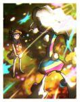 1girl bag blacephalon border bracelet brown_headwear chiimako commentary_request floral_print green_footwear hat highres holding_strap jewelry long_hair looking_up orange_shirt pokemon pokemon_(creature) pokemon_(game) pokemon_usum selene_(pokemon) shirt shoes shorts shoulder_bag sleeveless sleeveless_shirt standing ultra_beast white_border white_shorts z-ring