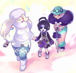 1boy 2girls allister_(pokemon) black_hair blush breasts cane chiimako closed_eyes commentary_request dress feather_boa hair_ornament hat holding_hands long_hair long_sleeves mask melony_(pokemon) multiple_girls old old_woman opal_(pokemon) open_mouth pantyhose pokemon pokemon_(game) pokemon_swsh short_hair smile