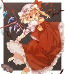 1girl :d arm_up ascot bangs barefoot bat blonde_hair blush border bow commentary_request crystal fang flandre_scarlet foot_out_of_frame grey_background hat hat_bow highres looking_at_viewer mob_cap one_side_up open_mouth outside_border petticoat puffy_short_sleeves puffy_sleeves red_bow red_eyes red_skirt red_vest shoes shoes_removed short_sleeves simple_background skirt smile solo standing standing_on_one_leg tamiku_(shisyamo609) touhou v-shaped_eyebrows vest white_border white_headwear wings wrist_cuffs yellow_neckwear