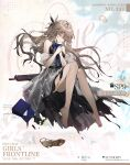 1girl artist_request bag_removed bare_legs bare_shoulders barefoot belt black_belt black_dress blonde_hair blue_neckwear bow bowtie breasts character_name closed_eyes closed_mouth commentary_request copyright_name cosmetics dress eyebrows_visible_through_hair flower girls_frontline hair_flower hair_ornament hand_on_hand highres lipstick_tube long_hair medium_breasts mole mole_under_eye official_art petals rose shoe_removed sitting solo sp9_(girls'_frontline) toes torn_clothes torn_dress weapon white_dress white_flower white_rose
