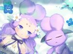 1girl :< animal blue_eyes blue_flower character_request closed_eyes closed_mouth crab creature dress flower forehead hair_flower hair_ornament highres livly_island lying momoshiki_tsubaki on_back on_ground purple_hair see-through short_eyebrows snow solo thick_eyebrows white_dress white_flower