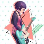 1girl aqua_background asymmetrical_bangs audio_jack bangs black_jacket black_pants blunt_bangs bmo_art bob_cut boku_no_hero_academia breasts commentary cropped_jacket diagonal_stripes drop_shadow electric_guitar facepaint feet_out_of_frame from_side green_background guitar holding holding_instrument instrument jacket jirou_kyouka long_earlobes long_sleeves looking_down medium_breasts music open_clothes open_jacket open_mouth pants pink_background playing playing_instrument polka_dot polka_dot_background purple_hair red_shirt shirt short_hair shoulder_strap solo striped torn_clothes torn_shirt triangle white_background