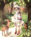 1girl building cross deer dress dxfma floral_print forest highres mushroom nature original tree white_dress yoyoyo_(dxayo)