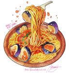 commentary_request eggplant food food_focus fork highres momiji_mao no_humans original pasta plate signature simple_background spaghetti spring_onion translation_request white_background