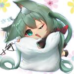 1girl ;d absurdres animal_ears aqua_eyes bangs black_skirt bow cat_ears cat_girl cat_tail chibi chinese_commentary commentary eyebrows_visible_through_hair fang floral_background green_hair hair_bow hatsune_miku highres kemonomimi_mode long_hair long_sleeves object_hug one_eye_closed open_mouth pillow pillow_hug pleated_skirt red_bow signature skirt sleeves_past_wrists smile solo tail very_long_hair vocaloid white_background wide_sleeves xiaoyu
