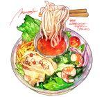 bowl chopsticks commentary_request food food_focus highres momiji_mao no_humans noodles onion original sauce saucer shrimp signature simple_background sparkle tomato translation_request vegetable white_background