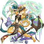 1girl :< amber_(gemstone) animal_ear_fluff animal_feet animal_hands animal_nose anklet aqua_sleeves armpits arms_up artist_request bare_shoulders barefoot blonde_hair body_fur breasts brown_fur brown_hair cauldron cheetah_ears cheetah_girl cheetah_tail clothing_cutout colored_inner_hair detached_sleeves earrings emerald_(gemstone) eyebrows_visible_through_hair full_body furry furry_female gem glowing green_hair half-closed_eyes headband highres jewelry jumping leg_up loincloth long_hair multicolored_hair navel navel_cutout nevia_(world_flipper) non-web_source official_art open_mouth orange_eyes owlbert_(world_flipper) pawpads pelvic_curtain plant sand scorpion scrying see-through see-through_sleeves shirt sideless_outfit sidelocks single_earring sleeveless sleeveless_shirt small_breasts snout solo spilling spread_legs staff stomach thighlet transparent_background vines whiskers white_fur world_flipper yellow_fur